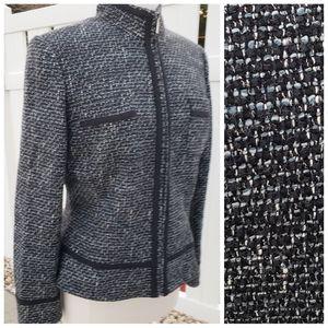 Tahari Tweed black gray white zipper closure sz 10